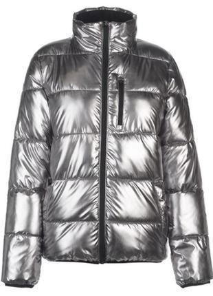 Шикарная теплая зимняя куртка everlast металлик серебро