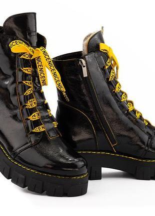 Новые женские зимние чёрные кожаные ботинки с 36-40
