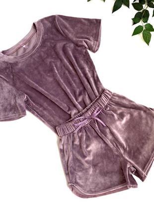 Плюшевый велюровый костюм домашний костюм пижама