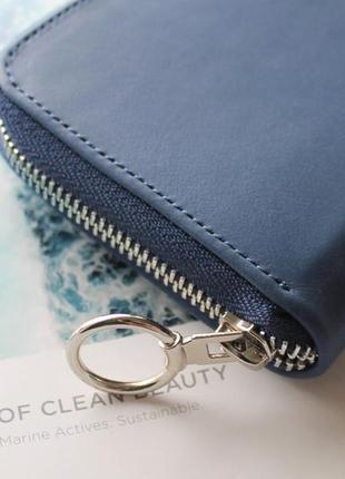 Женский кошелек из натуральной кожи синий