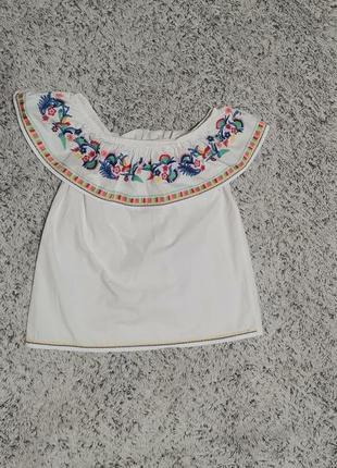 Блузка белая с вышивкой, блузка с открытыми плечами