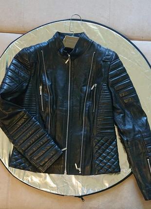 Куртка кожа натуральная короткая черная распродажа