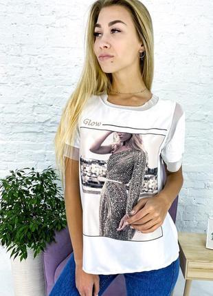 Бомбовская футболка хлопок принт девушка. модная футболка стразы базовая