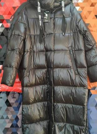 Шикарный,практичный,качественный длинный пуховик пальто, размер 46.