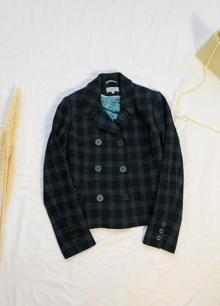 Шерстяной твидовый пиджак в клетку/ клетчатый пиджак жакет