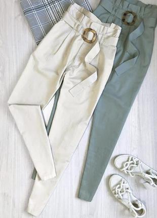 Натуральные брюки с ремнём высокая талия брюки штаны с защипами слоучи карго