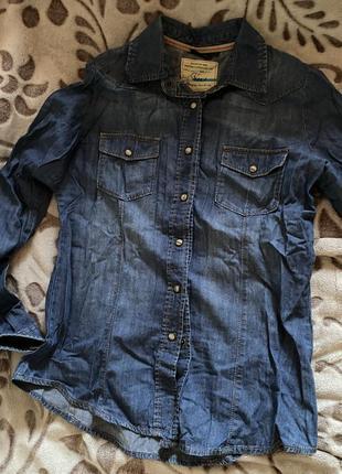 Джинсовая рубашка размер m l