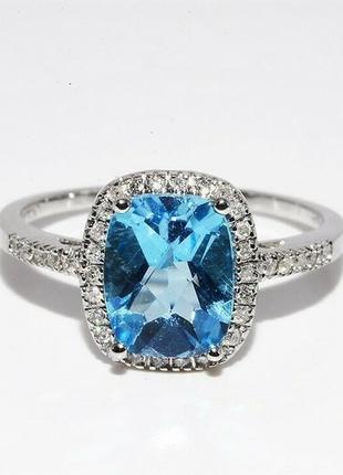 Золотое кольцо 585 проба бриллианты топаз размер 17.25