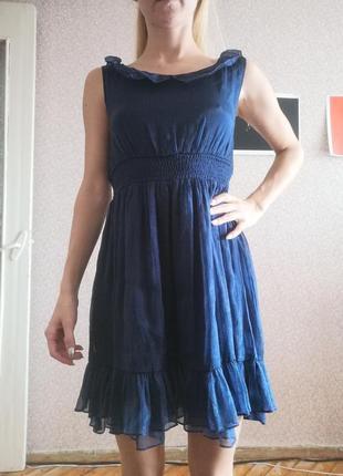 Платье boohoo синее мини  миди вырез юбка