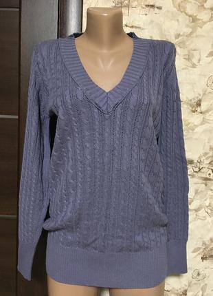 Оригинальный коттоновый пуловер в косы,лавандовый,tiffany
