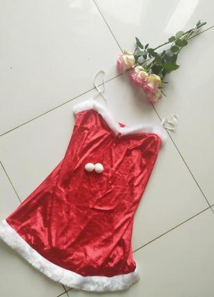 Новогодний пенюар красный платье снегурки новогоднее велюровое эротическое платье санты