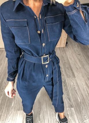 Комбинезон джинсовый, высокая посадка, плотный джинс
