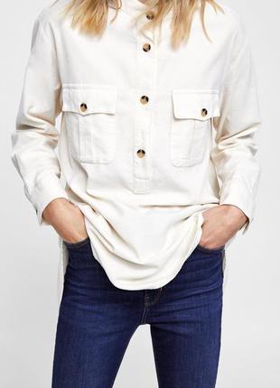 Супер-рубашка zara premium беж и актуальными  черепаховыми пуговицами