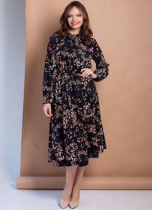 Сукня-міді size+ у флоральний принт 3100