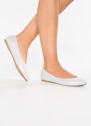 Новые балетки туфли серебристое напыление 36 размера на широкую ножку