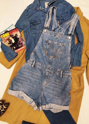New look denim комбинезон джинсовый шорты голубой оверсайз с карманами