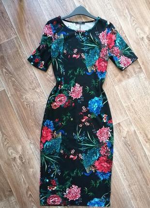 Шикарное миди платье в пионы
