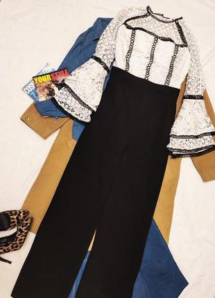 Комбинезон чёрный белый брюки широкие блуза кружевная by very большой батал