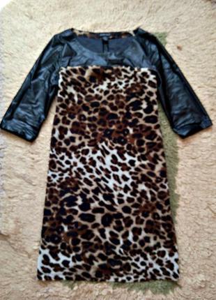 Леопардовое комбинированное платье с кожаными рукавами,свободного кроя
