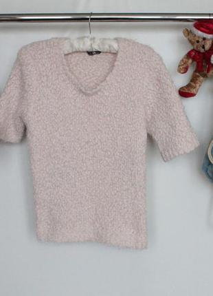 Актуальная вязаная кофта свитер травка с коротким рукавом