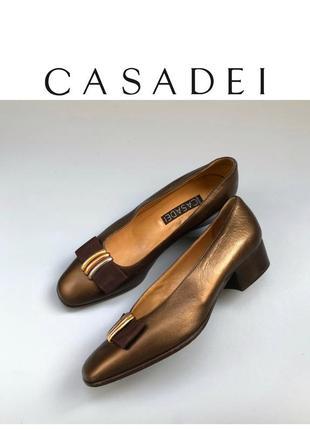 Casadei винтажные туфли кожаные на низком каблуке лоферы дизайнерские бант