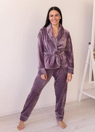 Красивый велюровый плюшевый лиловый костюм домашний костюм