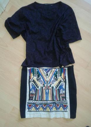 Мини-юбка с вышивкой zara