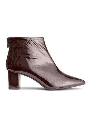 Стильные лаковые ботинки из premium линейки h&m studio ботильоны марсала узкий носок 39 40