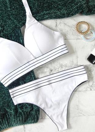 Хлопковый комплект белья со стрингами, средняя посадка , цвет белый