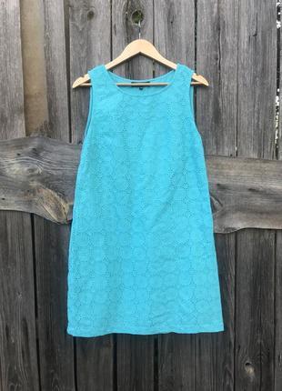 Яркое коттоновое платье кружевное макраме