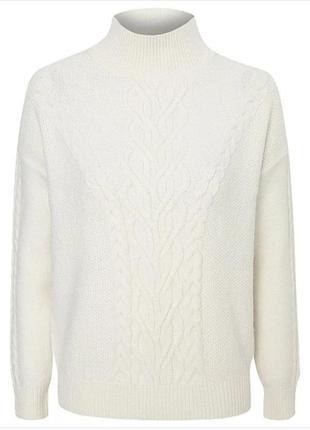 Шикарный теплый белый свитер с горлом размер с-м george