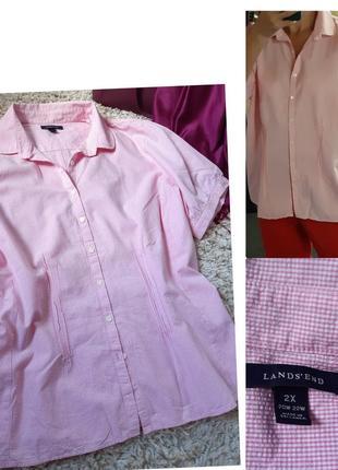 Очень нежная хлопковая блуза/рубашка в мелкую клетку, lands'end, p. 50-52