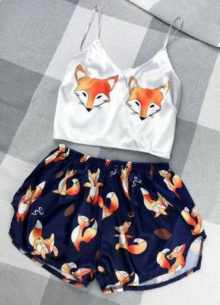 Sale💟шелковая пижама топ шорты принт лисички