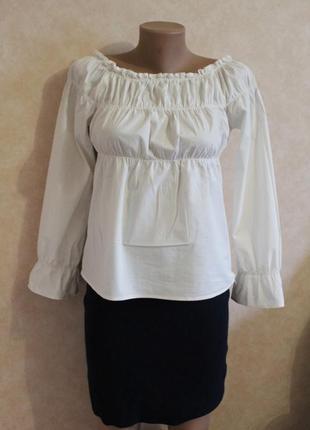 Белая хлопковая блуза от only xl