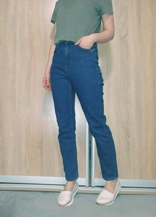 Синие плотные прямые ровные джинсы мом на высокой посадке от topshop