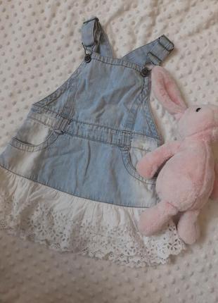 Платье сарафан джинсовый с кружевом на 2 - 3 года