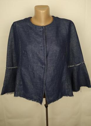 Пиджак жакет стильные льняной натуральный оригинальный uk 8/36/xs