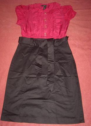 Платье офисное- верх бордо.низ черный хлопок элостан р.xxs - . h&m