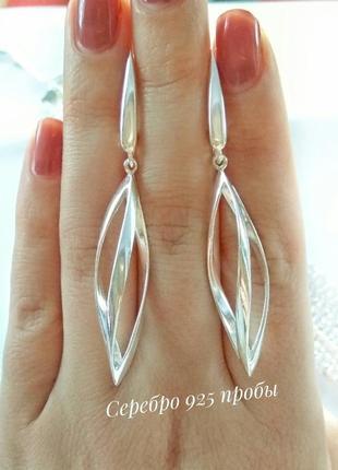 Серебряные серьги, сережки, серебро 925 пробы