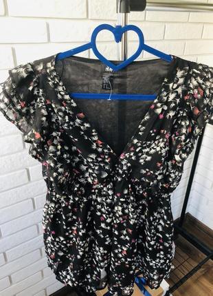 Легкая шифоновая блуза h&m в цветочный принт