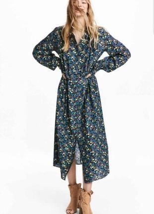 Стильное платье рубашка h&m в мелкие цветочки