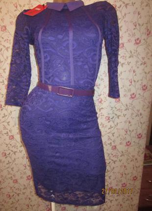 Шикарное платье к праздникам- гипюр остался фиолетовый цвет!