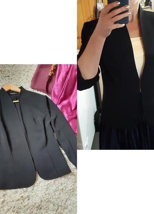 Стильный базовый черный легкий жакет/пиджак ,франция, р. 42-44