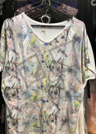 Комбинированная футболка ромбами