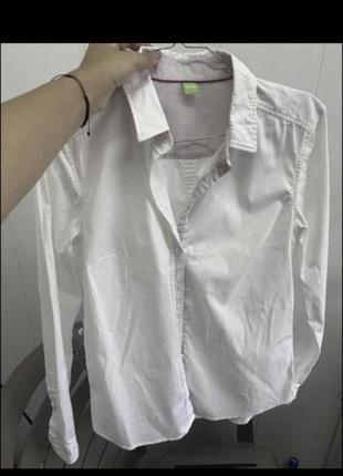 Белая хлопковая блуза рубашка hugo boss