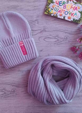 Вязанный акриловый набор шапка хомут