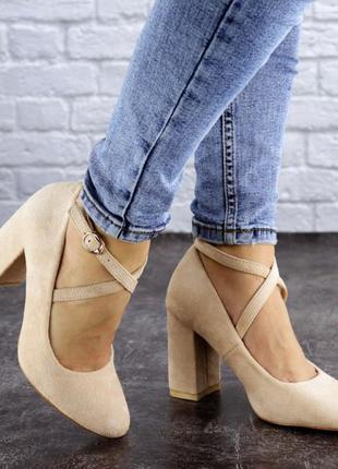 Туфли женские бежевые на каблуке замша замшевые