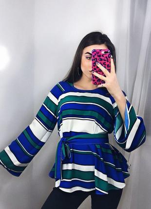 Блуза h&m обьемная в разноцветную полоску