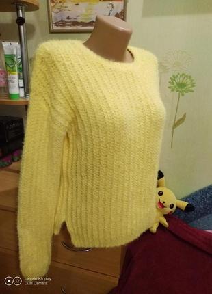 Шикарный жёлтый джемпер, свитер, кофта- xxs-xs- yessica- идеал