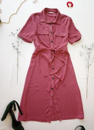 Бледно малиновое платье рубашка с поясом george